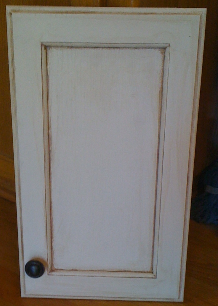 Painted my cabinets with a Cream White and did a Chocolate glaze