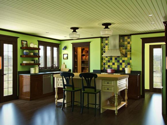 Lime Green Kitchen : So i have a lime green kitchen.... now I need these dark cabinets :)