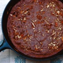 Fudgy and buttery Cast Iron Skillet Brownie Pecan Pie