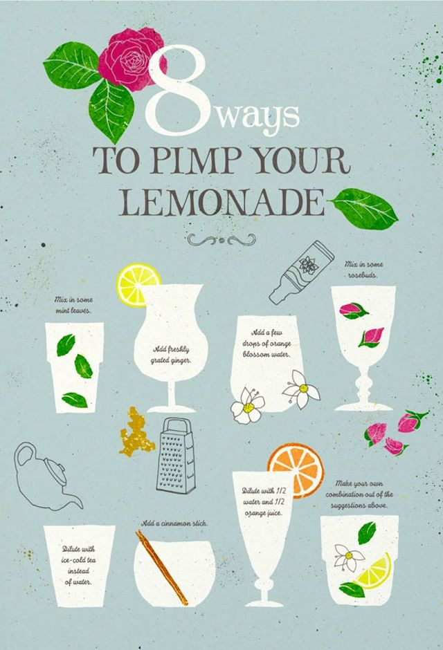 A lemonade bar?? Complete with garnishes and booze? 8 Ways to Pimp Your Lemonade (by Leen)