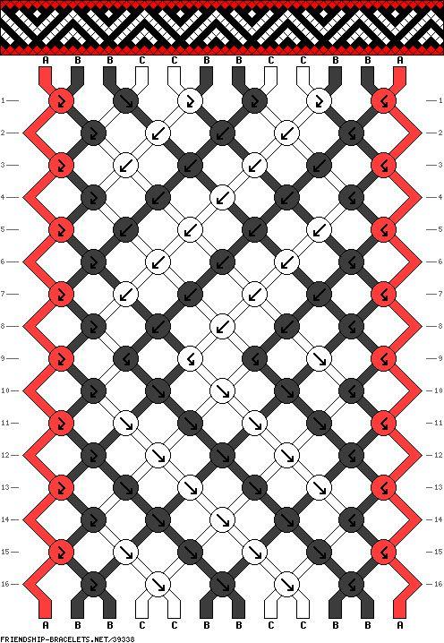 Фенечка из трех цветов прямым плетением
