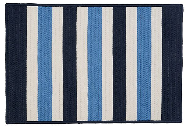 Stripe outdoor rug navy ice white for Blue striped outdoor rug