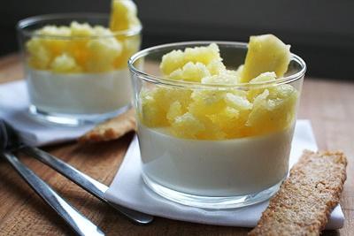 yogurt panna cotta with pineapple granita