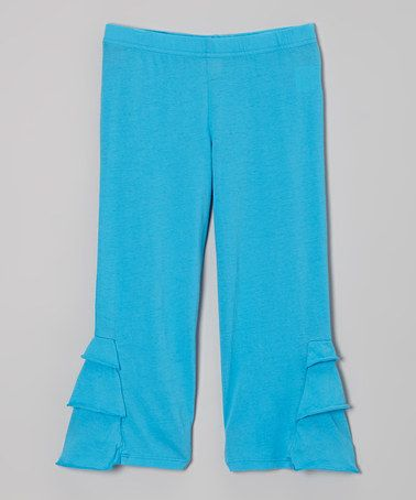Take a look at this Turquoise Honey Ruffle Capri Pants - Toddler