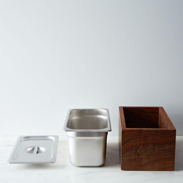Countertop Compost : Countertop Compost bin idea. Food grade steel food bin + wooden box.