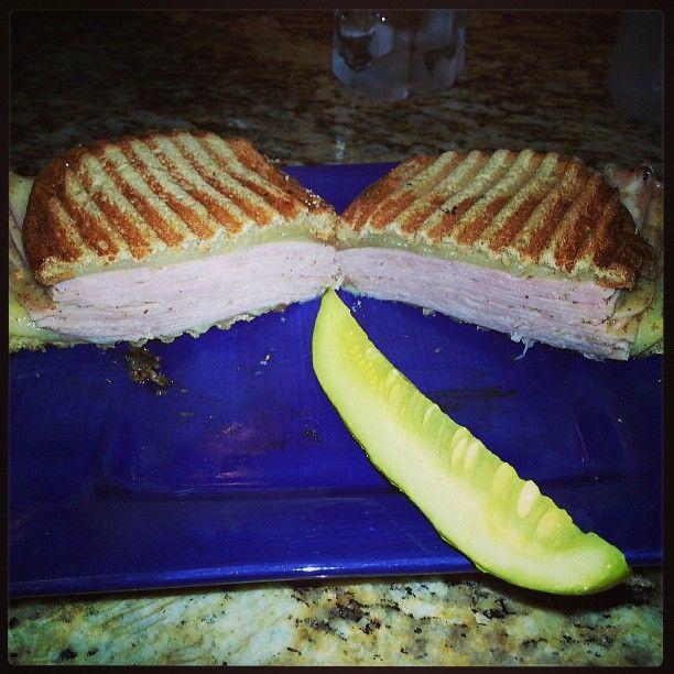 Ham and Swiss panini on rye with horseradish and honey dijon. It's ...