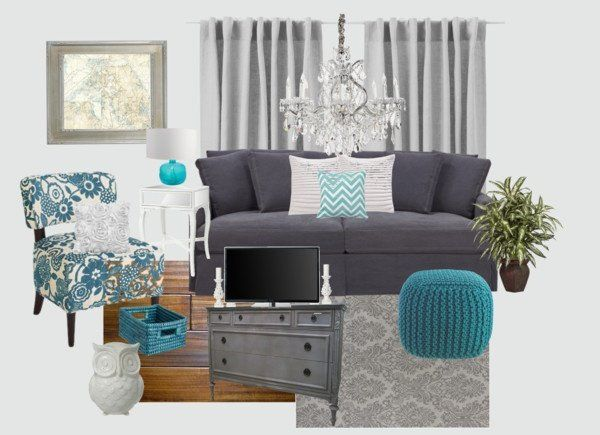 gray white and turquoise living room entertainment area