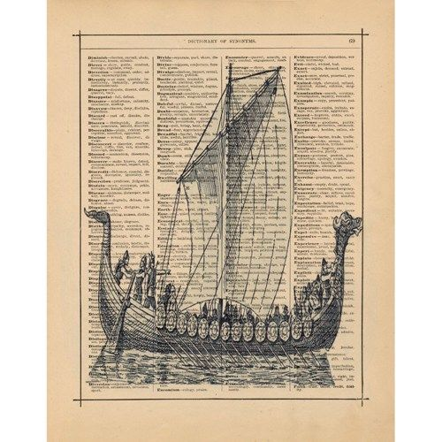 Viking Long Ship Art Print Vintage Illustration On Antique