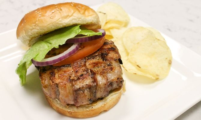 Bacon-wrapped burger? Yes please | We Love Food | Pinterest