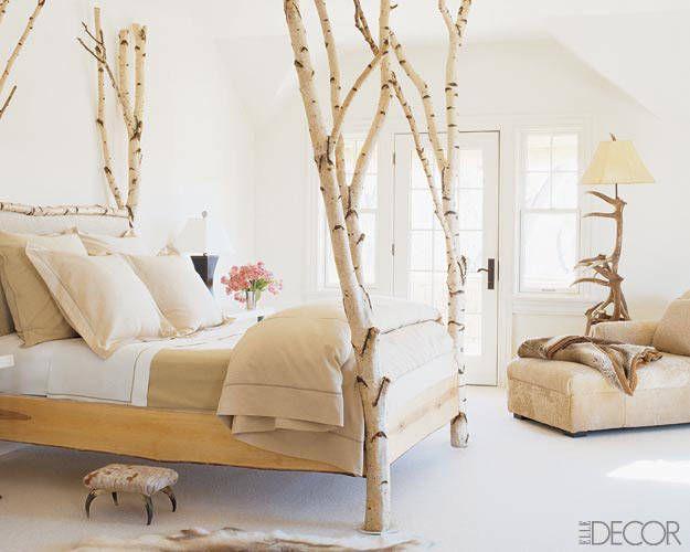 Montana ranch birch four-poster bed via Elle Décor