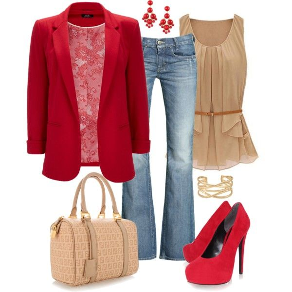 """Red and Beige"" by fun-to-wear on Polyvore"