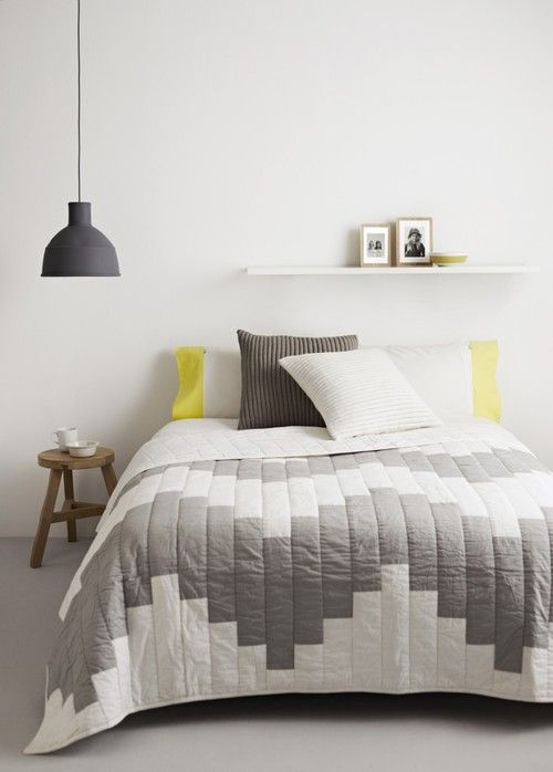 Grey Yellow White Bedroom Interiors Pinterest