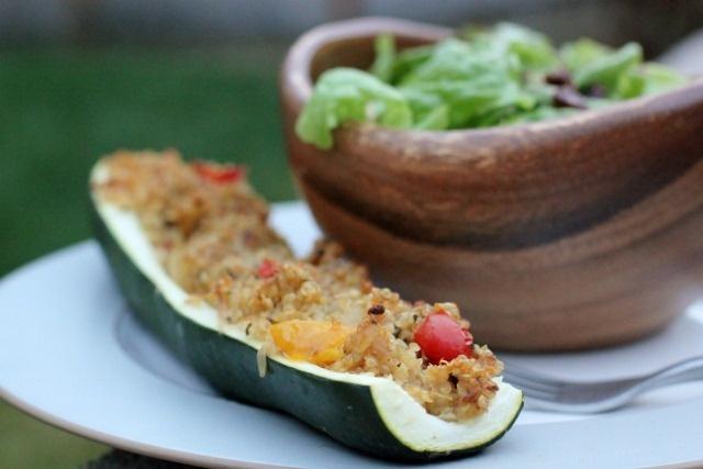 Quinoa Stuffed Squash Boats...my version - stuffed w/ quinoa ...