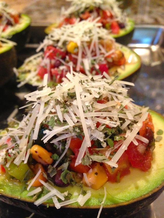 ... ripe avocados. Mix black bean and roasted corn salsa, mild salsa