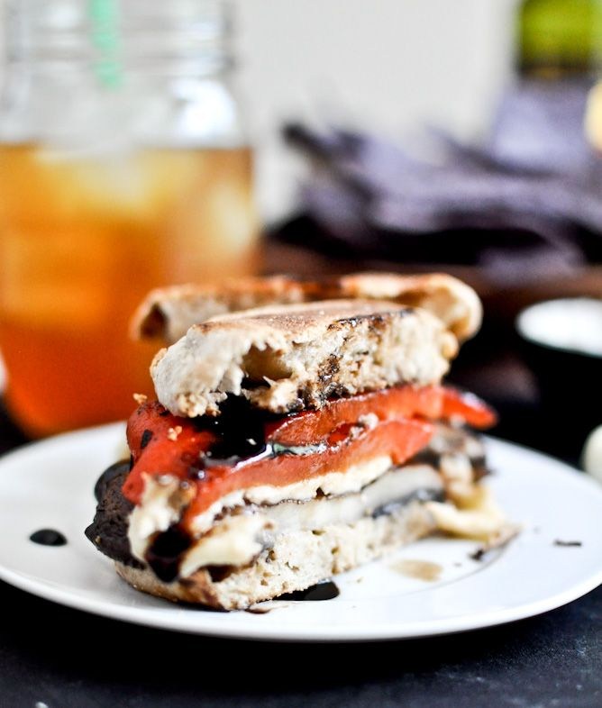 asiago portobello burgers with roasted red pepper and balsamic glaze