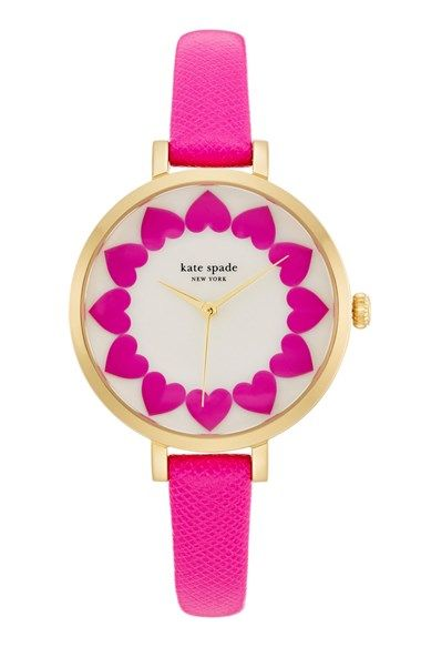 Free shipping and returns on kate spade new york 'metro' heart dial leather strap watch, 34mm at Nordstrom.com. A ring of bright pink hearts details the pretty mother-of-pearl dial of this supercute watch set on a thin Saffiano leather strap.