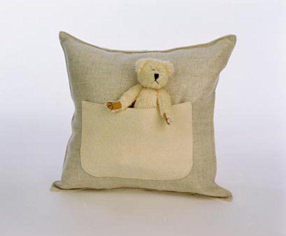 Stuffed Animal Pillows With Pockets : Teddy bear pocket cushion