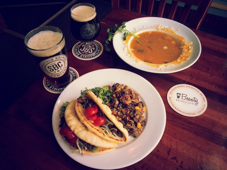 Mushroom & Beef Chalupas served with Black Bean Honey Quinoa. Soup is ...