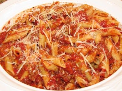 Penne Pasta with Meat Sauce | Penne For Your Thoughts | Pinterest