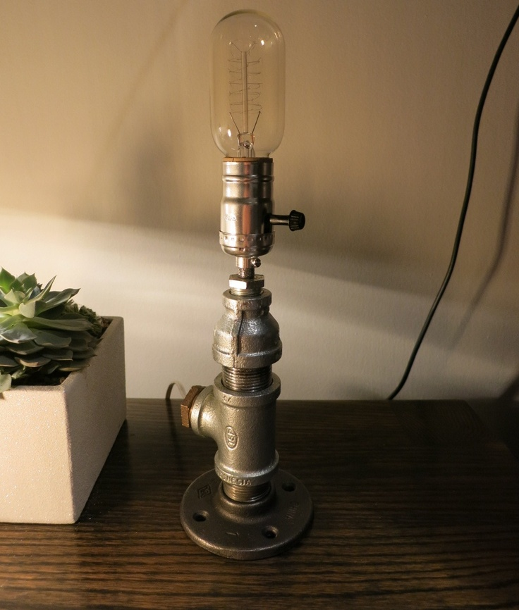 Industrial pipe lamp the lamps of rizzo and crane via for How to make a pipe lamp