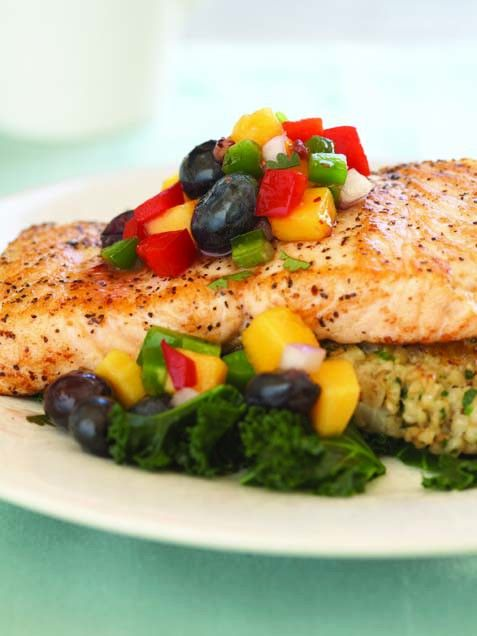 Salmon with blueberry mango salsa a healthy and light drop off dinner.