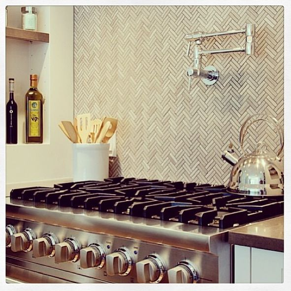 herringbone kitchen tile backsplash dwell pinterest
