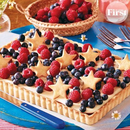 Red, White Blueberry Tart | 4th of July | Pinterest