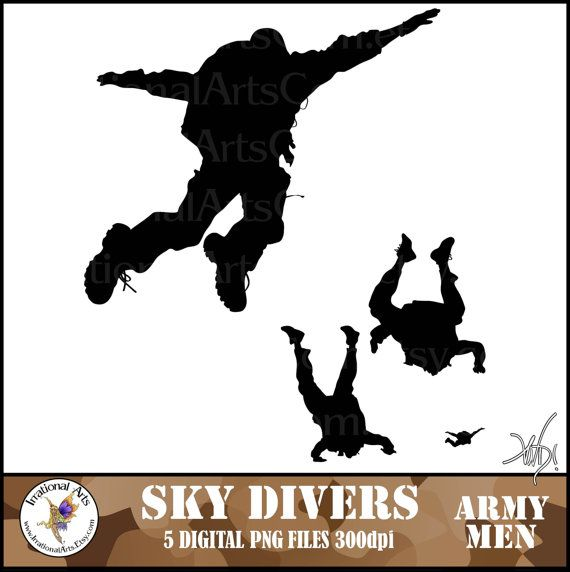 INSTANT DOWNLOAD SKYDIVERs ARMY men silhouettes by IrrationalArts   4    Army Men Png