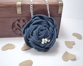Denim Rose Necklace with Freshwater Pearl Detail £14.00