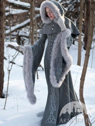 "I so want this for tomorrow, it's gonna snow!  - Wool grey fantasy coat ""Heritrix of the Winter"""