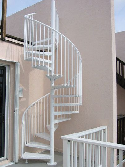 Custom White Outdoor Spiral Staircase ID Stairs Pinterest