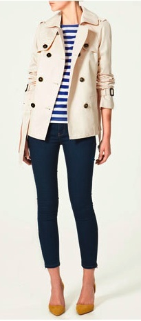 scrunched sleeve trench with skinny jeans.