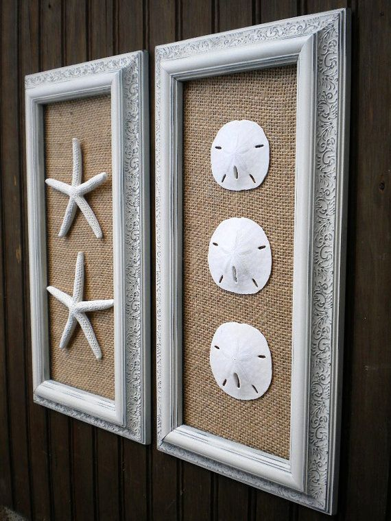 Cottage Chic Framed Starfish Wall Art Dorm Wall Art Beach Wall Art