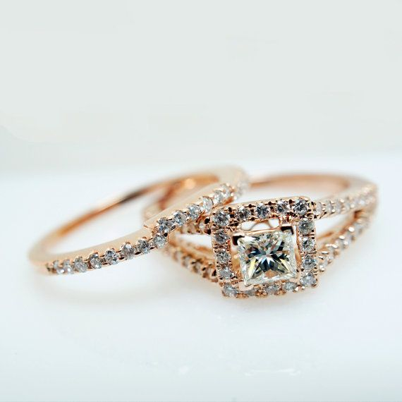 14k Rose Gold Princess Cut Diamond Square by JamieKatesJewelry, 2350 ...