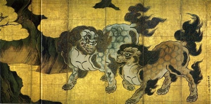 狩野永徳『唐獅子図』 狩野永徳『唐獅子図』 | 狩野永徳 Eitoku Kano | Pinte