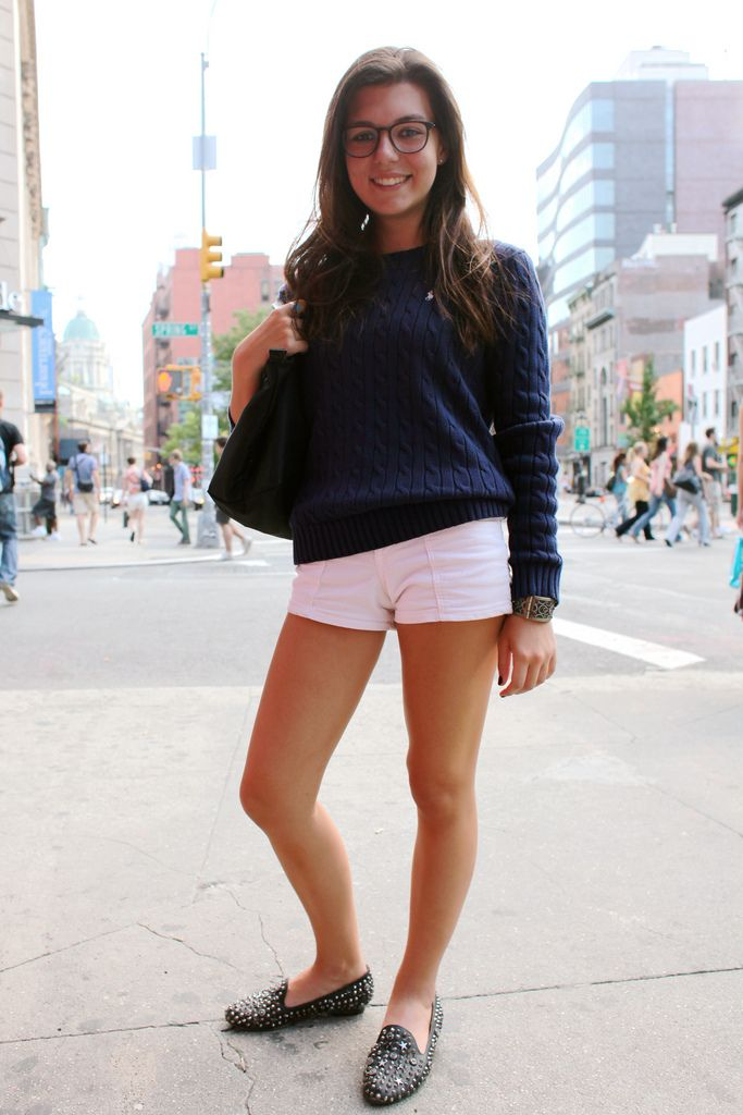 Glasses. Polo cable sweater. Pink shorts. JC loafers. <3