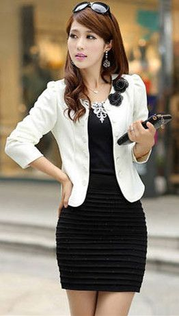 Moves Fashion: Black Dress and White Blazer
