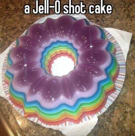 Jello shot rainbow cake | Cakes | Pinterest