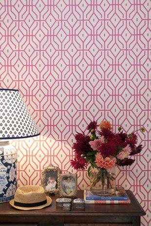 Rosey Posey Trellis - Wallpaper (comes in blue & linen) - Porter's Paints