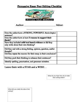 Essay proofreading and editing checklist middle school