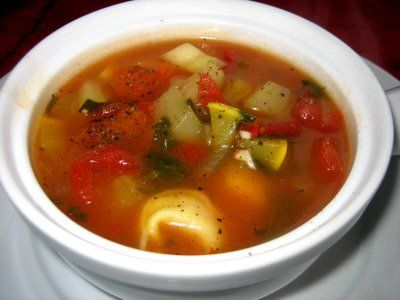 Tortellini Vegetable Soup - vegetarian. There's a sausage version for ...