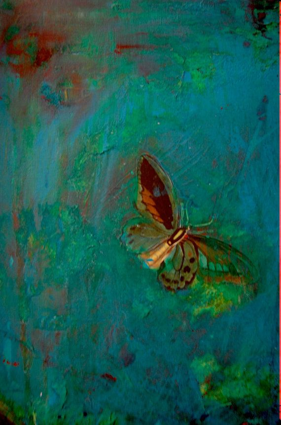 Original Mixed Media Abstract Butterfly Painting