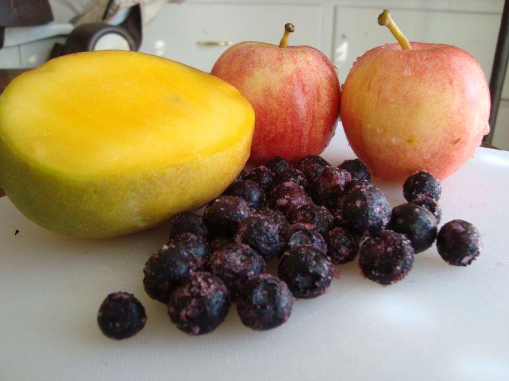 Apple, Mango, and Blueberry puree