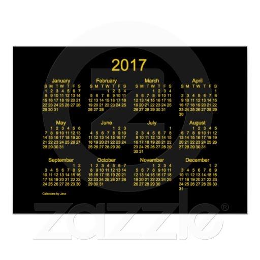 Neon Gold 2017 Wall Calendar by Janz
