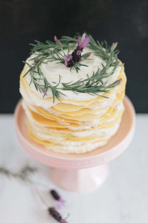 lavender honey crepe cake recipe | cake stand from BHLDN | via: the ...
