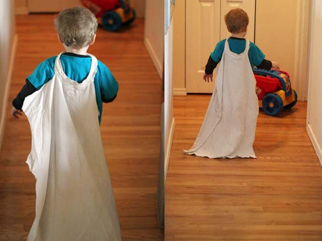 Turn Dad's old t-shirt into a cape! No sewing, hot gluing, or decorating required!