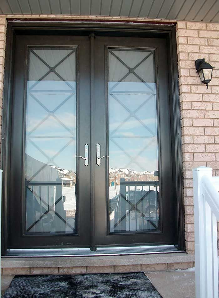 Black french entry door antique reproduction home for Black exterior doors