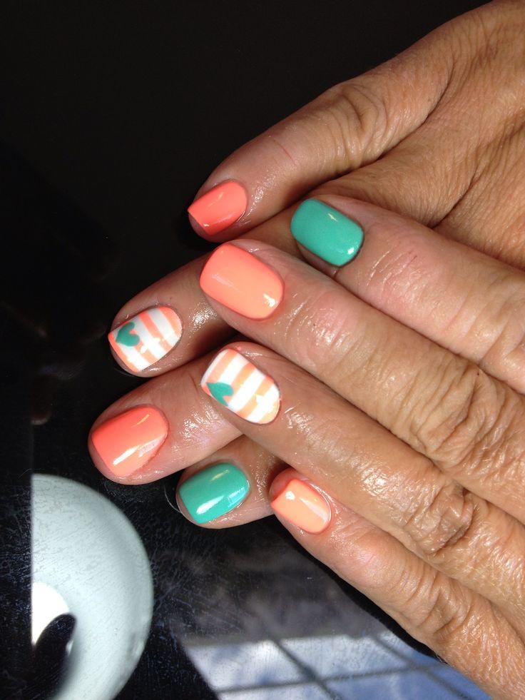 Nails shellac gelish gel nails nails art stripes heart teal orange