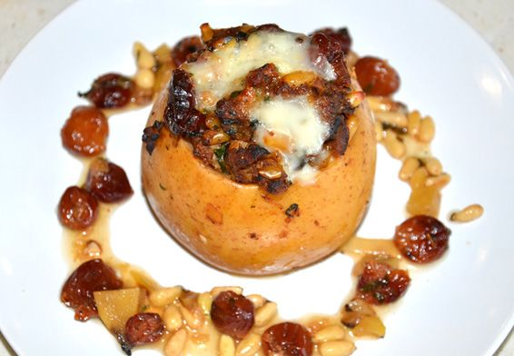 Savory Baked Apples with Chicken Sausage, Cherries and Pine Nuts