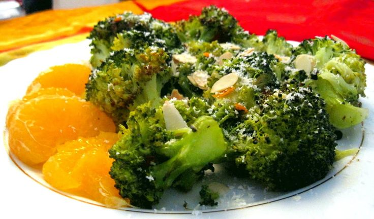 Orange-Pepper Roasted Broccoli with Toasted Almonds and Parmesan